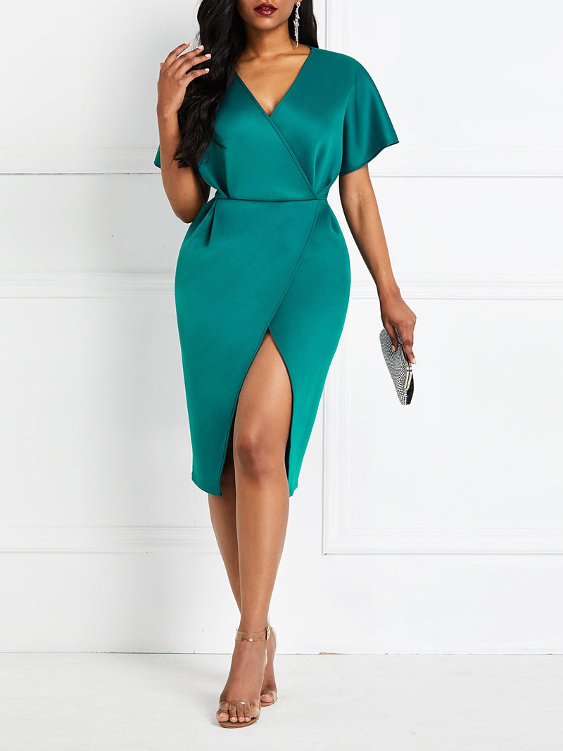 Split Knee-Length V-Neck Plain Office Lady Dress