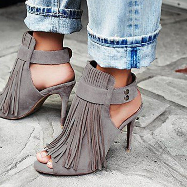 Strappy Stiletto Heel Buckle Peep Toe Fringe Casual Sandals