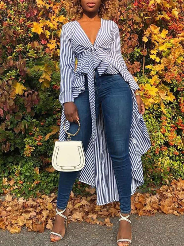 Lace-Up Stripe V-Neck Long Sleeve Long Blouse