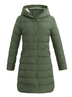 Slim Zipper Mid-Length Cotton Padded Jacket