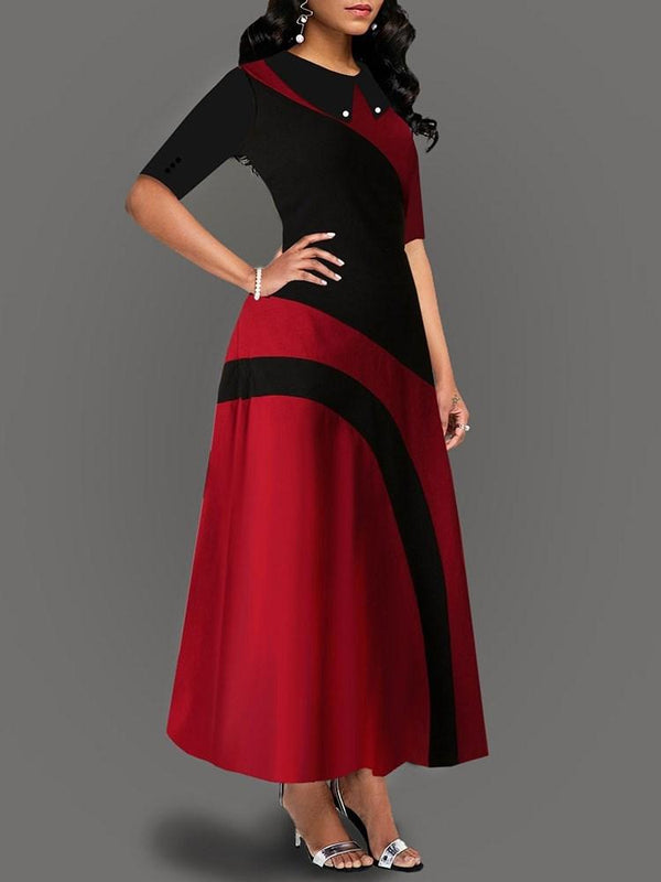 Ankle-Length Half Sleeve Expansion Standard-Waist Dress