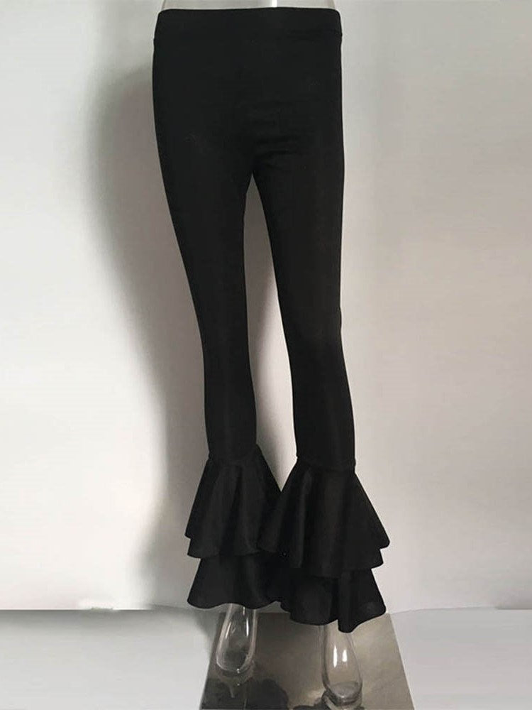 Falbala Skinny Plain Full Length Bellbottoms Casual Pants