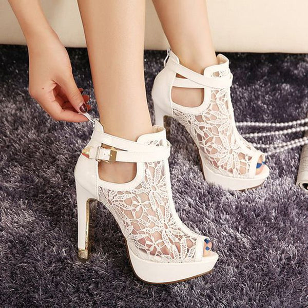 Stiletto Heel Zipper Peep Toe Lace Banquet Western Thin Shoes