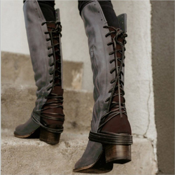 Chunky Heel Side Zipper Plain Round Toe Cotton Casual Boots