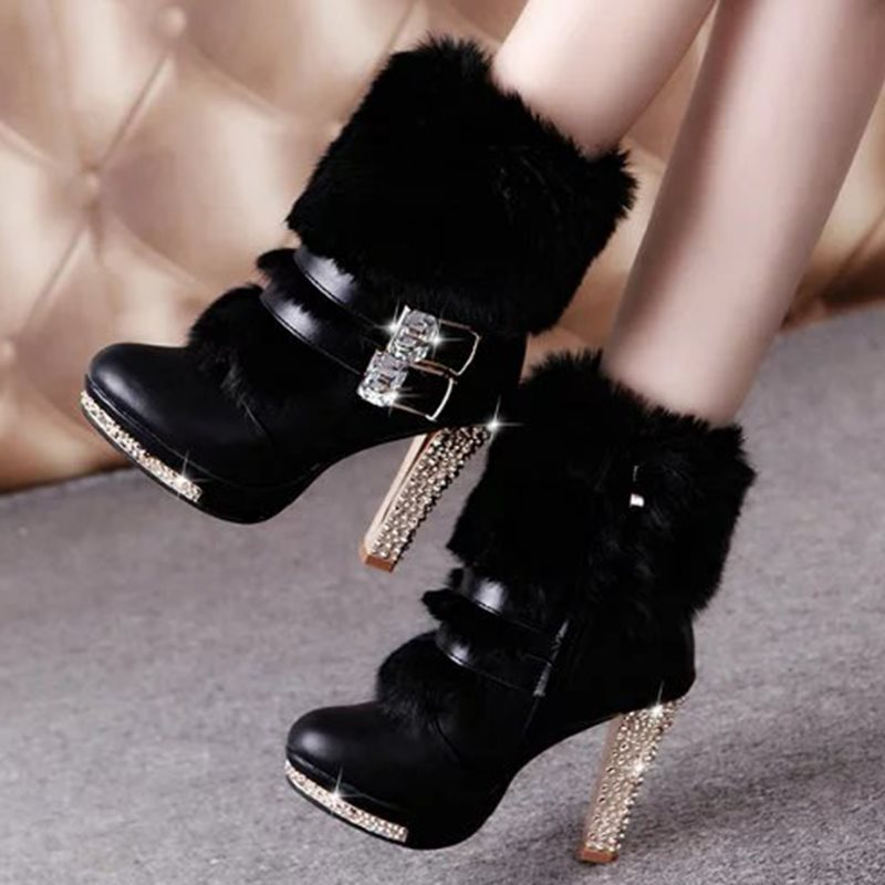 Round Toe Side Zipper Chunky Heel Plain Casual Thread Boots