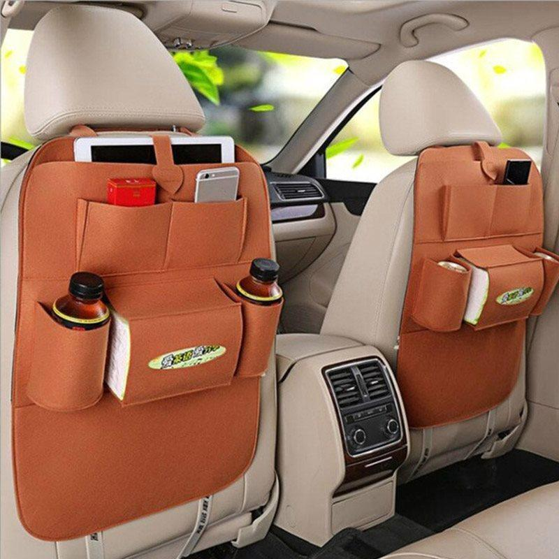 Car Seat Back Bag Organizer Storage iPad Phone Holder Multi-Pocket Hanging Black
