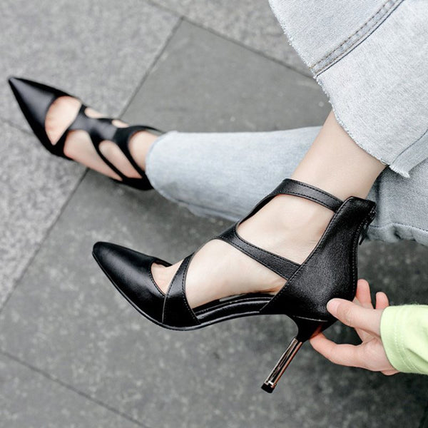 Hollow Pointed Toe Stiletto Heel Zipper High-Cut Upper 9cm Thin Shoes
