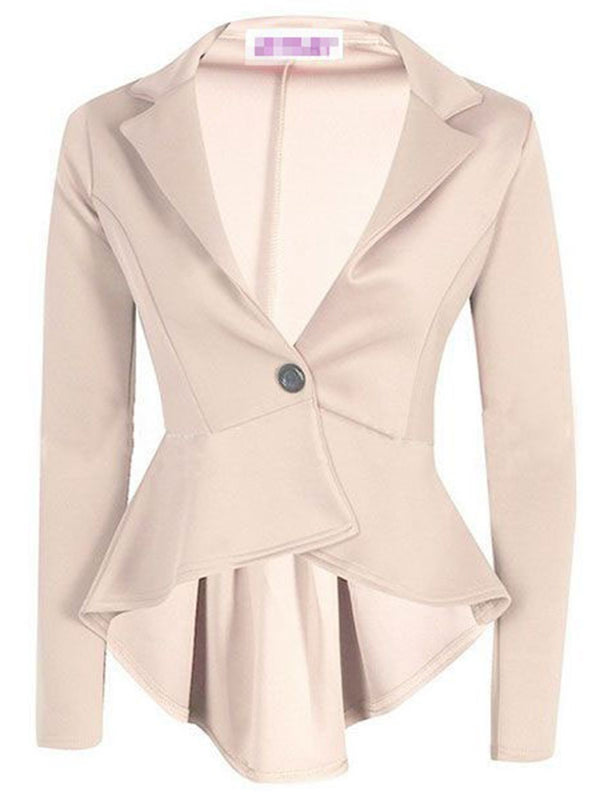 Plain One Button Notched Lapel Spring Regular Casual Blazer