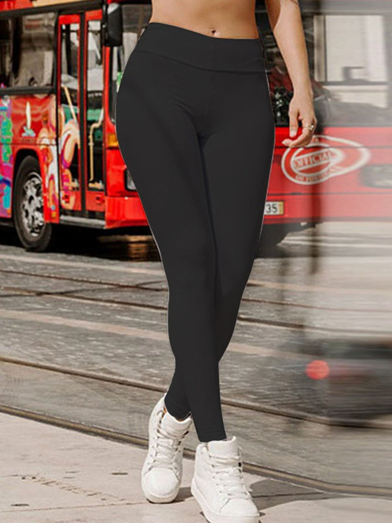 Breathable Polyester Solid Fall Yoga Female Pants
