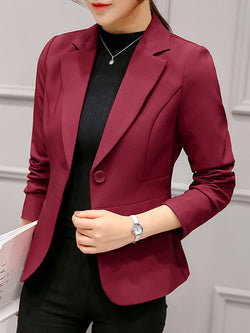 Notched Lapel Plain Long Sleeve Standard Fall Casual Blazer