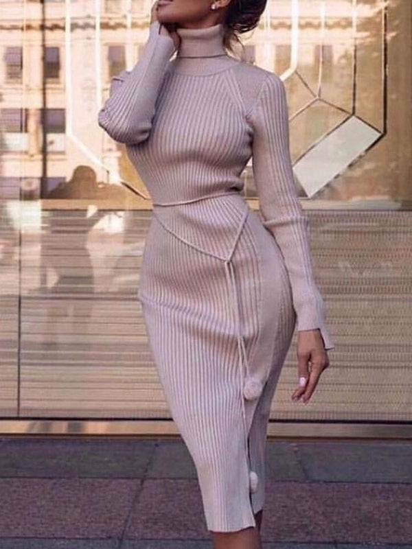 Turtleneck Mid-Calf Long Sleeve Pullover Sheath Dress