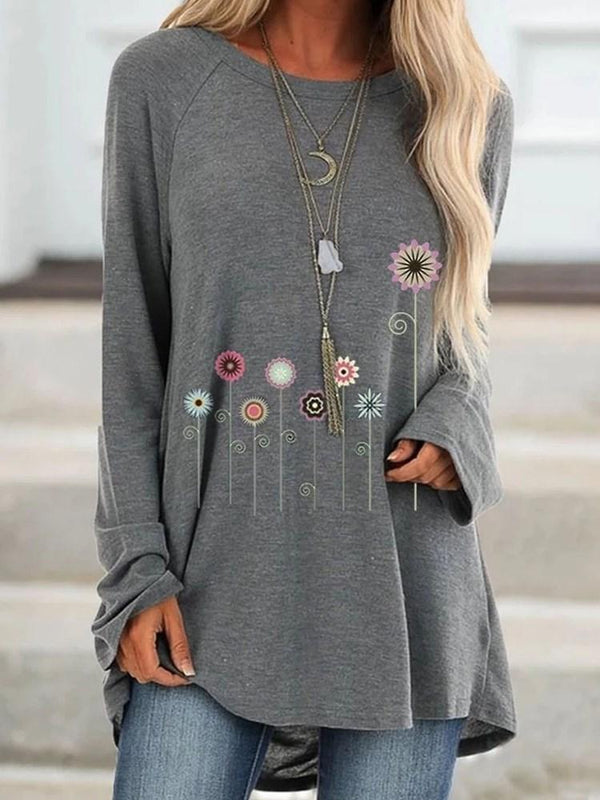 Floral Mid-Length Long Sleeve Loose Casual T-Shirt