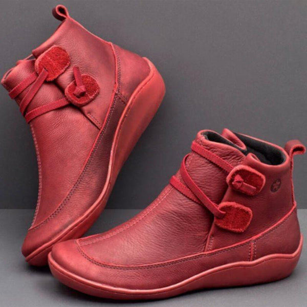 Round Toe Slip-On Plain Casual Thread Boots