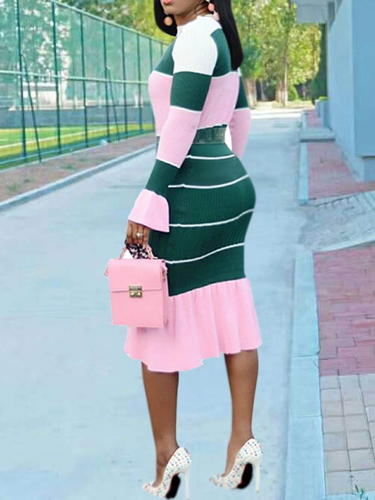 Long Sleeve Mid-Calf Falbala High Waist Color Block Dress