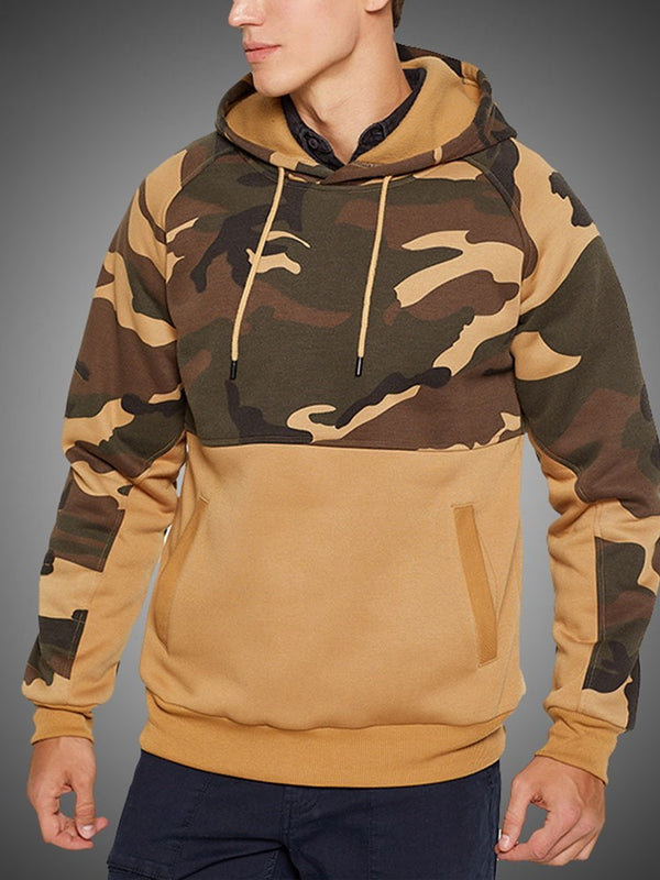 Pullover Print Color Block Casual Hooded Hoodies
