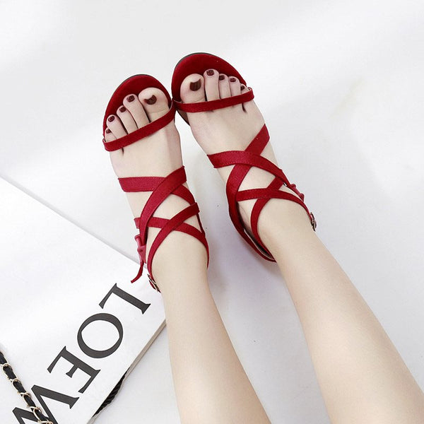Stiletto Heel Open Toe Heel Covering Buckle Casual Plain Sandals