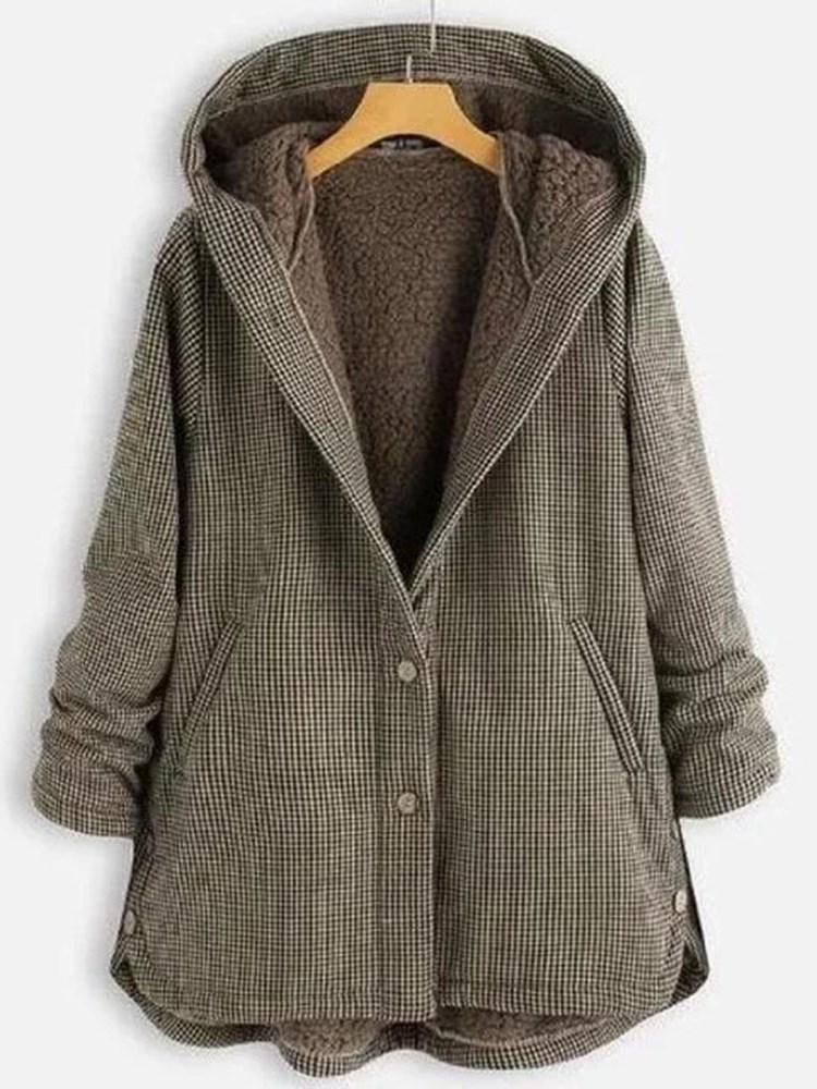 Single-Breasted Loose Regular Mid-Length Hooded Overcoat