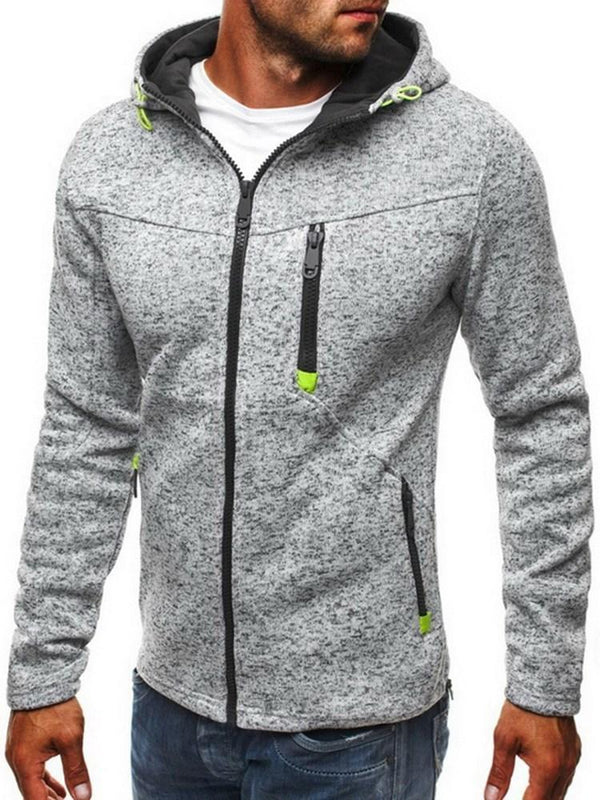 Cardigan Patchwork Thick Zipper Hooded Hoodies