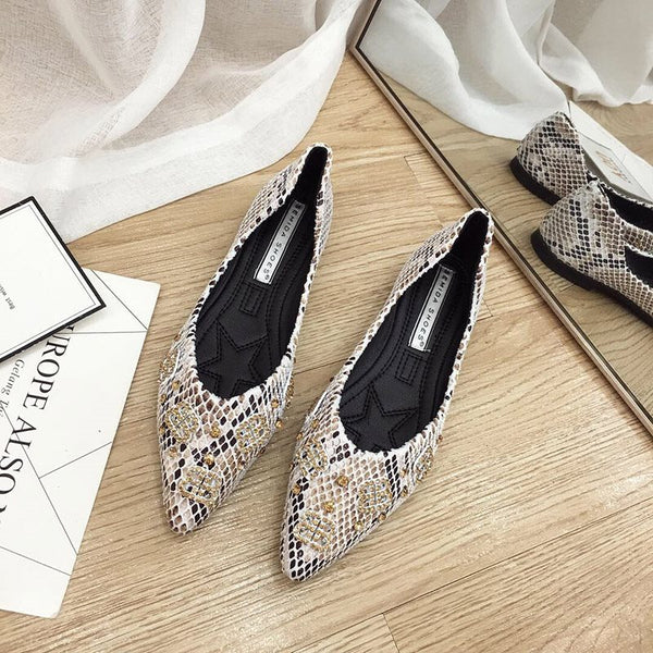 Beads Block Heel Pointed Toe Slip-On Casual Low-Cut Upper Thin Shoes