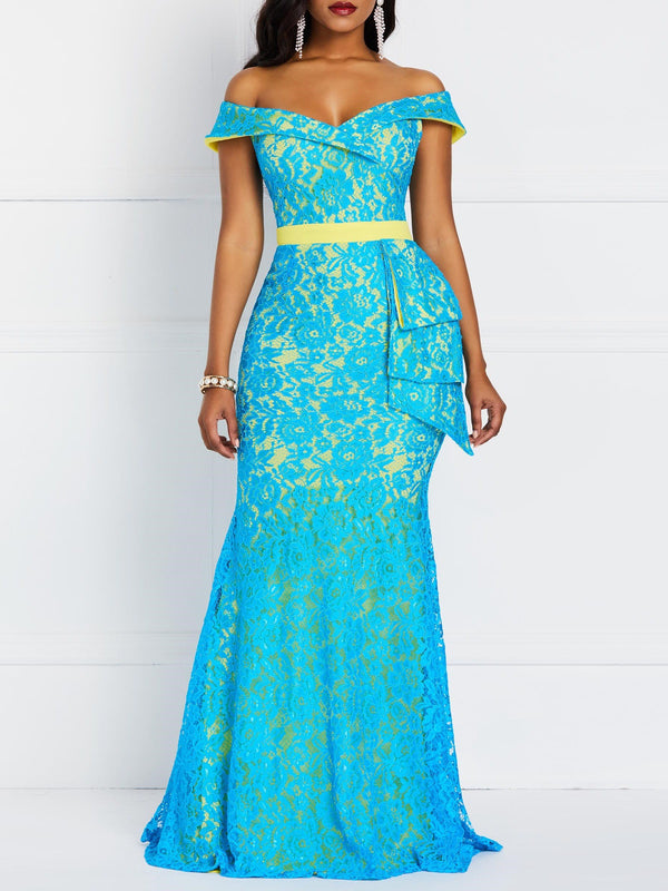 Short Sleeve Floor-Length Lace Mermaid High Waist Dress