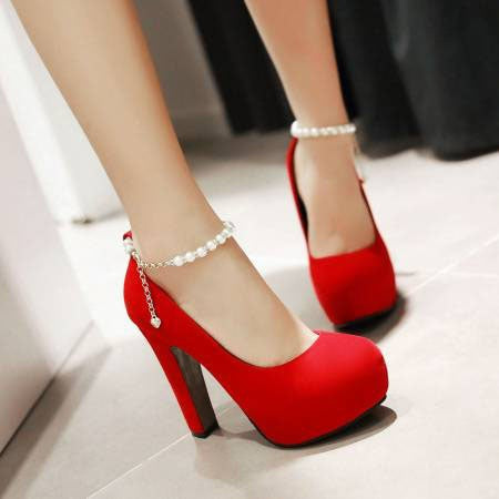 Chunky Heel Platform Round Toe Line-Style Buckle Plain 12cm Thin Shoes