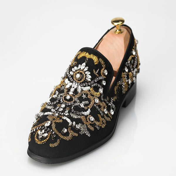 Square Toe Slip-On Rhinestone Block Heel Low-Cut Upper Casual Thin Shoes