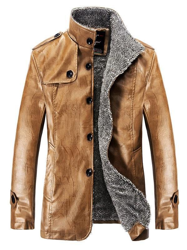 Mid-Length Stand Collar Single-Breasted Slim Leather Jacket