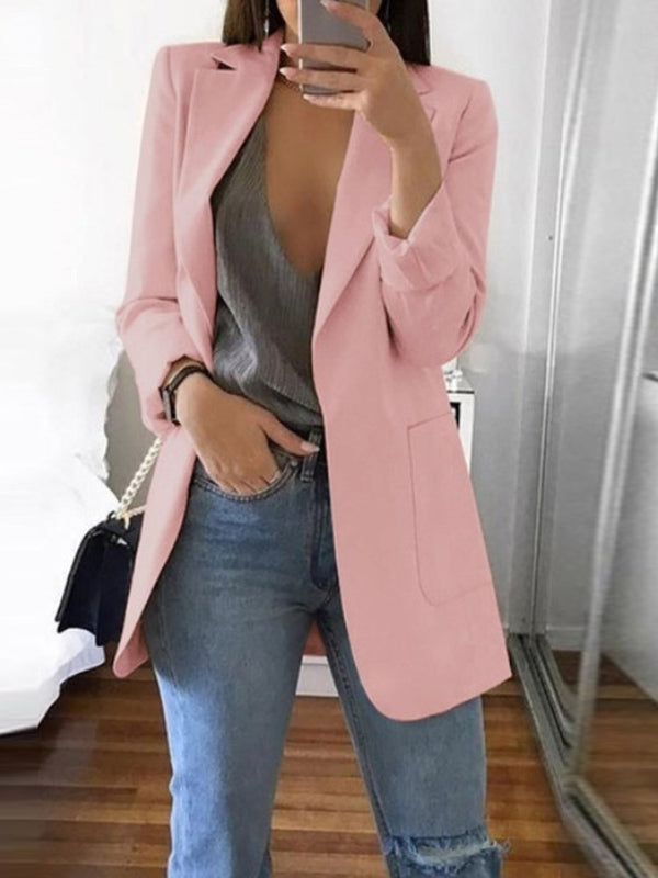 Notched Lapel Plain Long Sleeve Mid-Length Fall Casual Blazer