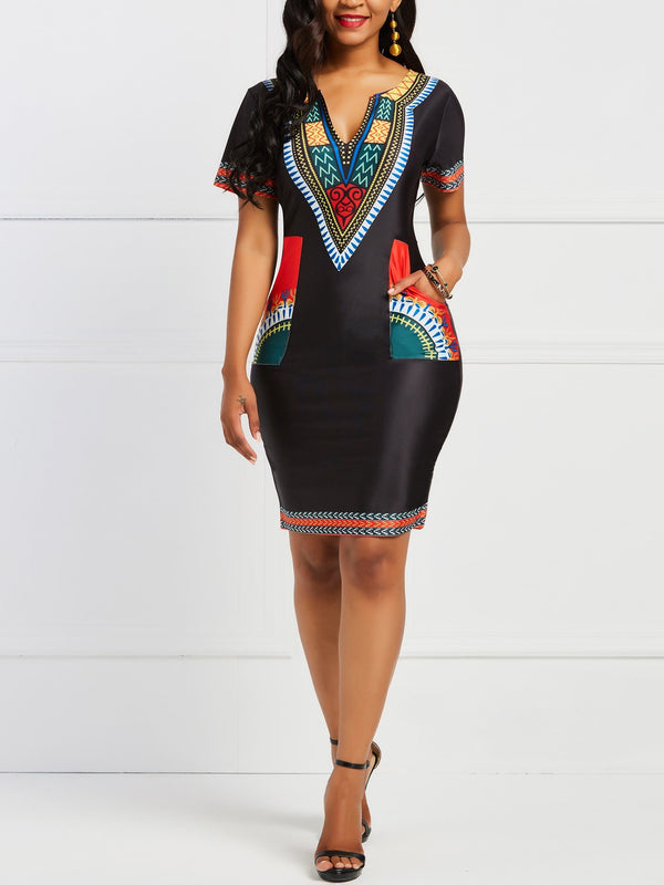 Print V-Neck Short Sleeve African Ethnic Style Pullover Dress