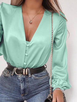 V-Neck Plain Button Long Sleeve Standard Blouse