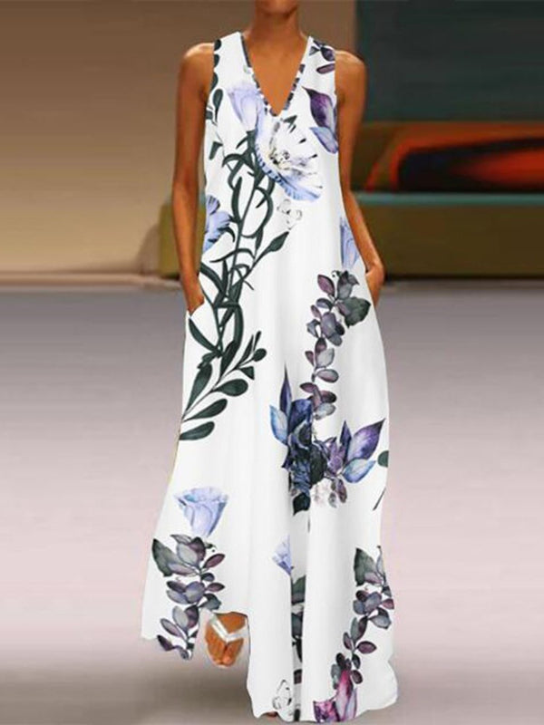 Print Floor-Length V-Neck Pullover Expansion Dress
