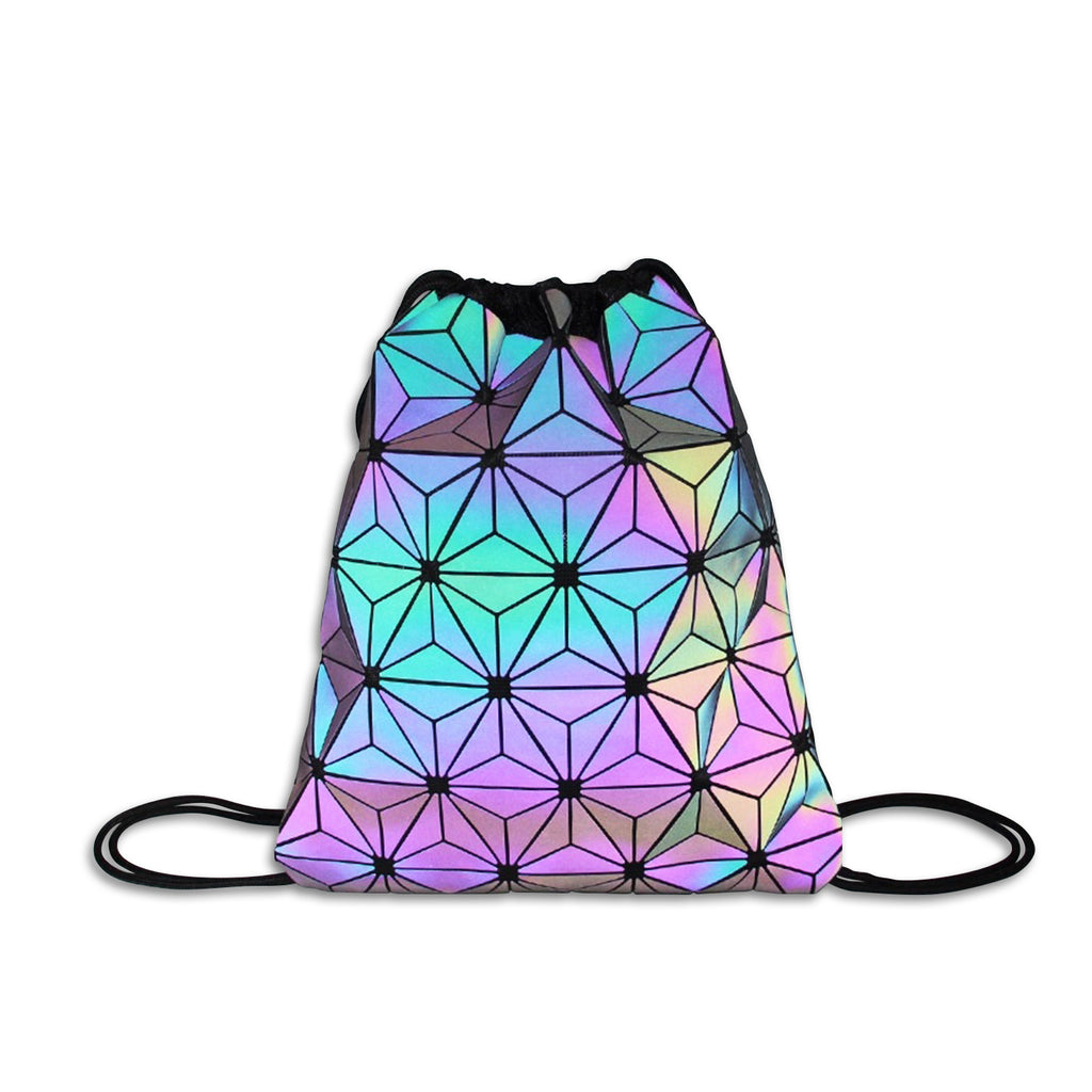 Glowcoco Drawstring Holographic Backpack - glowcoco reflective clothing