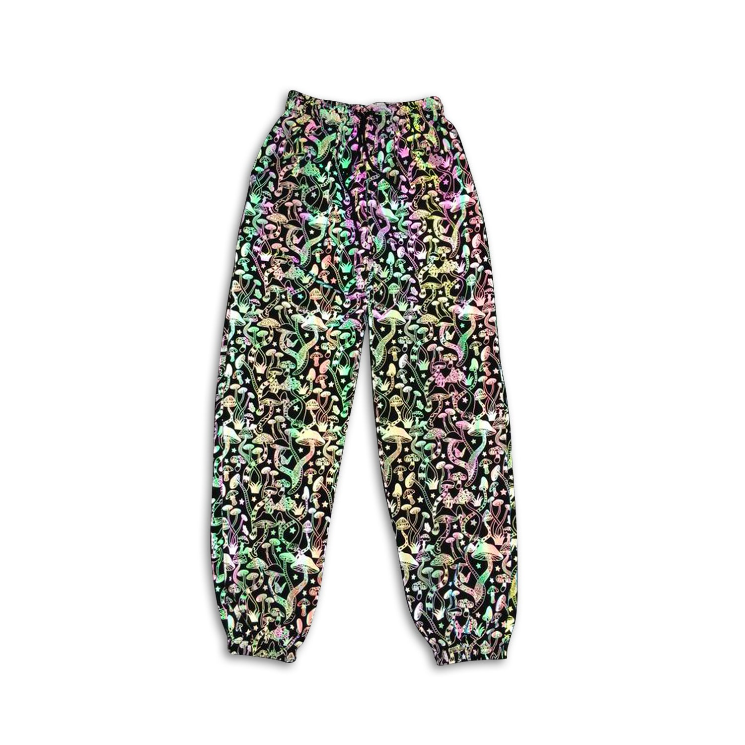 Mushroom Reflective Holographic Pants - glowcoco reflective clothing