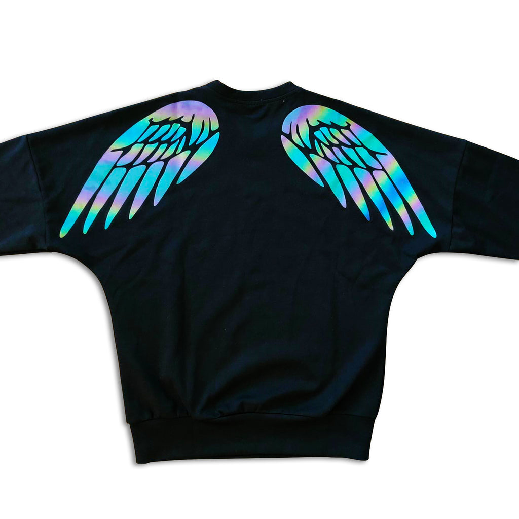 Glowcoco Oversize Reflective Wing Print Shirt - glowcoco reflective clothing