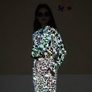 Mushroom Reflective Holographic Crop Hoodie - glowcoco reflective clothing