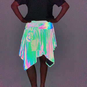 Glowcoco Holographic Vintage skirt - glowcoco reflective clothing
