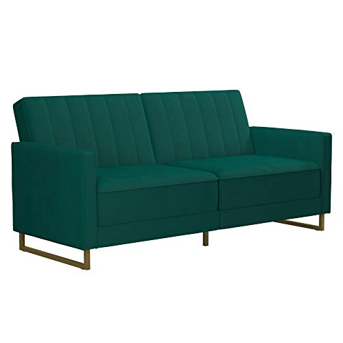 Novogratz Skylar Coil, Modern Sofa Bed and Couch, Green Velvet Futon