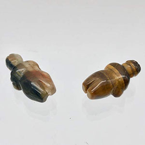 2 Carved Tigereye Goddess of Willendorf Beads for Jewelry Making 009287TE