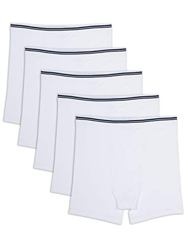 Amazon Essentials Men's Big & Tall 5-Pack Tag-Free Boxer Briefs Underwear, -White, 4XL