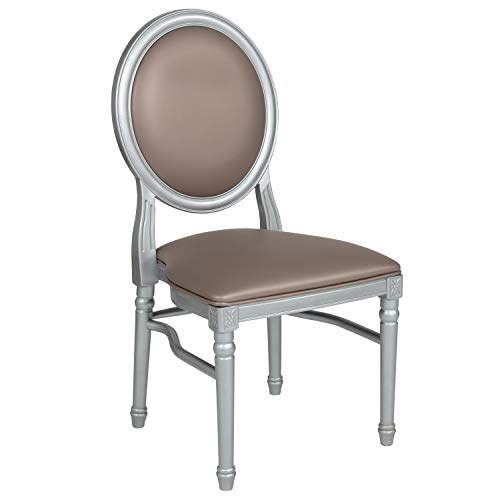 Flash Furniture HERCULES Series 900 lb. Capacity King Louis Chair with Taupe Vinyl Back and Seat and Silver Frame