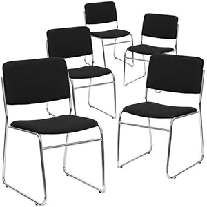 Flash Furniture 5 Pk. HERCULES Series 1000 lb. Capacity Black Fabric High Density Stacking Chair with Chrome Sled Base