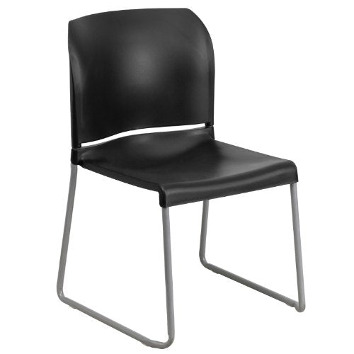 Flash Furniture HERCULES Series 880 lb. Capacity Black Full Back Contoured Stack Chair with Gray Powder Coated Sled Base