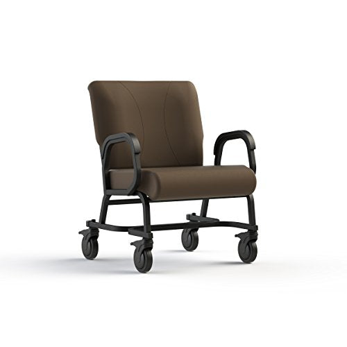 Living Made EZ LMZ-Q1-5482 Titan Plus Bariatric Armed Chair with Steel Frame, Locking Casters, Java, 30 Inch Width