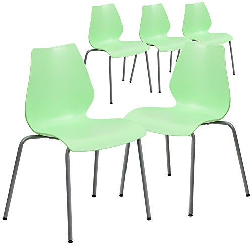 Flash Furniture 5 Pk. HERCULES Series 770 lb. Capacity Green Stack Chair with Lumbar Support and Silver Frame