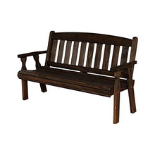 Load image into Gallery viewer, CAF Amish Heavy Duty 800 Lb Mission Pressure Treated Garden Bench (5 Foot, Dark Walnut Stain)