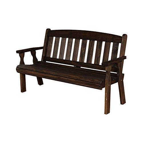 CAF Amish Heavy Duty 800 Lb Mission Pressure Treated Garden Bench (5 Foot, Dark Walnut Stain)