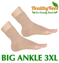 Load image into Gallery viewer, HealthyNees Extra Wide Ankle Big Feet 20-30 mmHg Compression Swelling Foot Pain Circulation Plus Size Sock Open Toe Sleeve (Beige, Big Ankle 3XL)