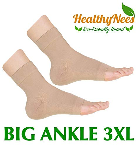 HealthyNees Extra Wide Ankle Big Feet 20-30 mmHg Compression Swelling Foot Pain Circulation Plus Size Sock Open Toe Sleeve (Beige, Big Ankle 3XL)