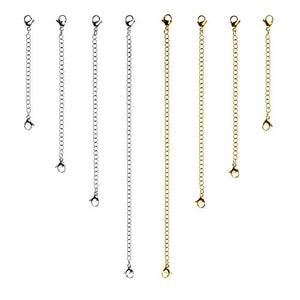 D-buy 8 Pcs Stainless Steel Necklace Extender Bracelet Extender Extender Chain Set 4 Different length: 6 inch 4 inch 3 inch 2 inch (4 Gold, 4 Silver)