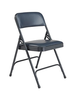 (4 Pack) NPS 1200 Series Premium Vinyl Upholstered Double Hinge Folding Chair, Dark Midnight Blue